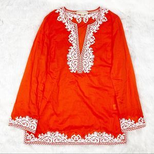Michael Kors Orange and White Lightweight Tunic